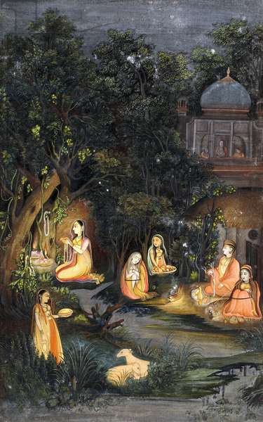 Nocturnal Worship and Feasting, c.1770 (gouache and gold paint on paper)