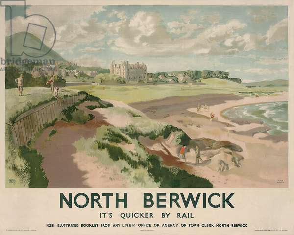 Poster advertising rail travel to North Berwick, c. 1950 (colour lithograph)