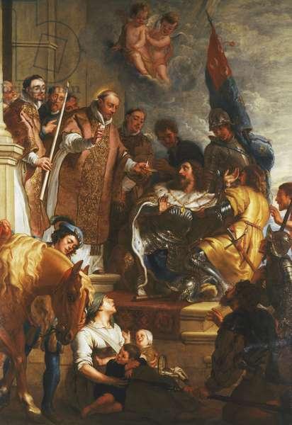 Saint Bernard converts a Duke of Aquitaine,  (oil on canvas)
