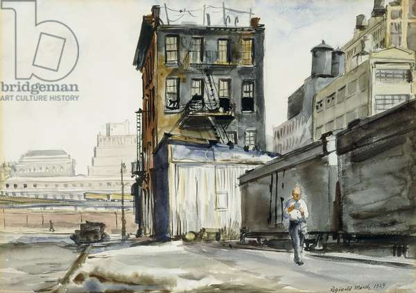 Trainyards, New York, 1929 (watercolour and pencil on paper)