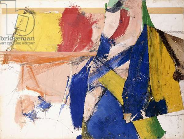 Untitled, 1958 (oil, paper collage and tape on paper)