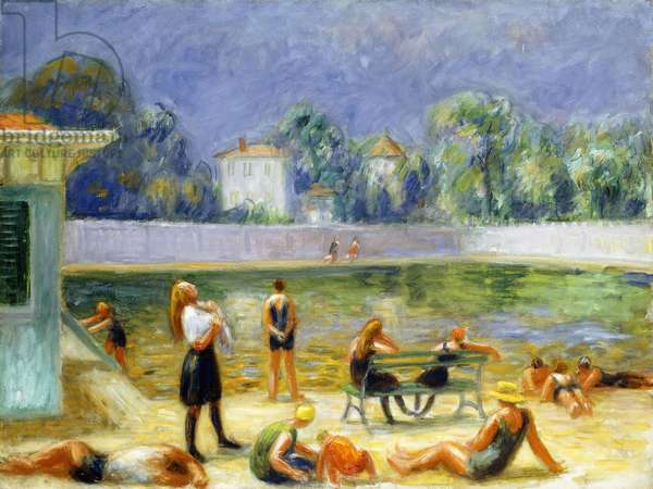 Outdoor Swimming Pool,  (oil on canvas)