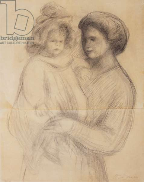 Claude Renoir in the arms of his Nurse, Renee Jolivet; Claude Renoir dans les bras de sa Nurse, Renee Jolivet, 1903 (charcoal heightened with pink crayon on two joined sheets of pap)