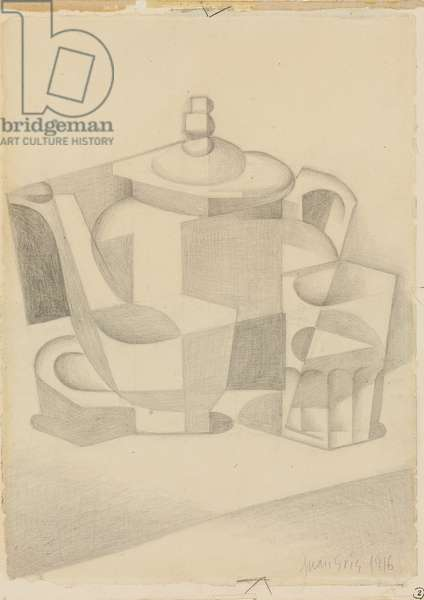 Still Life with Teapot; Nature morte a la theiere, 1916 (pencil on paper laid down on paper)