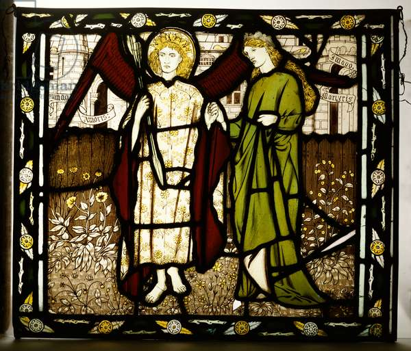 Amor and Alcestis, Morris & Co. panel from the 'Legend of Good Wimmen' by Geoffrey Chaucer, 1864 (stained glass)