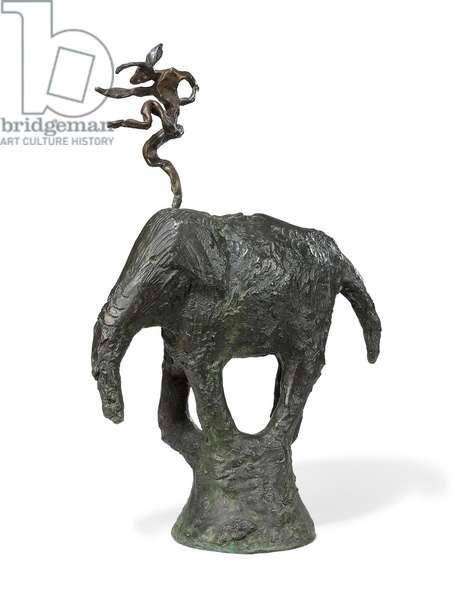Hare on Elephant, 1983 (bronze)