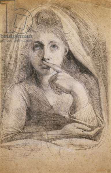 Martha Hess as Silence (recto),  (pencil and white chalk on buff paper)