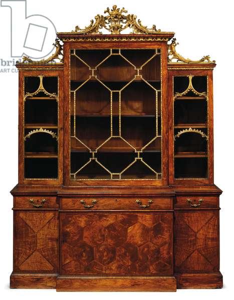 George II breakfront bookcase, 1759 (parcel-gilt rosewood, padouk & sabicu)