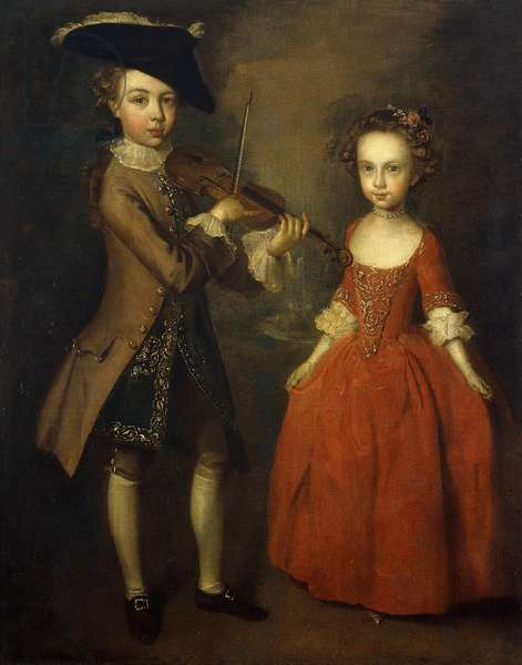 The Archbold Children: A Group Portrait of a Little Boy, Full Length Wearing a Beige Coat, Dark Blue Gold-Embroidered Waistcoat, and Tricorn Hat and Playing a Violin, and His Sister, Full Length, Wearing a Red Dress, with Flowers in Her Hair, Preparing to Dance, in a Landscape., 1746 (oil on canvas)