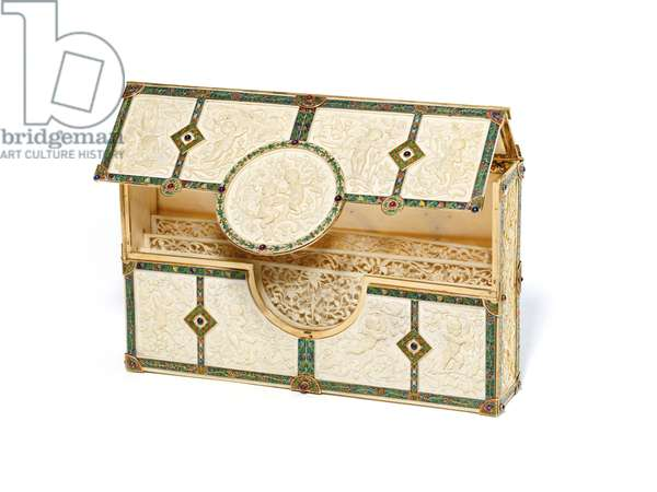 Rare bank note holder for Boucheron, 1893 (ivory, gold, enamel, rubies, sapphires & amethysts)