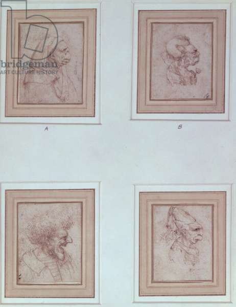 Four caricatures (red chalk)
