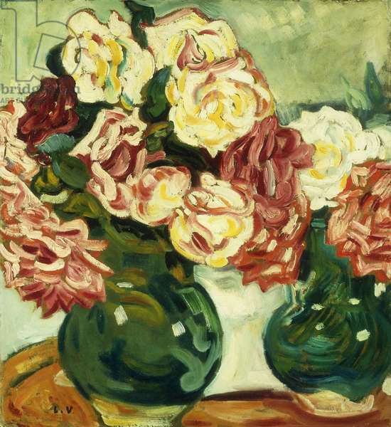Two Vases of Roses; Deux Vases de Roses, 1907 (oil on board)