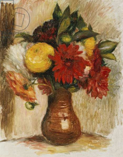 Bouquet of Flowers in a Stone Jug (oil on canvas)