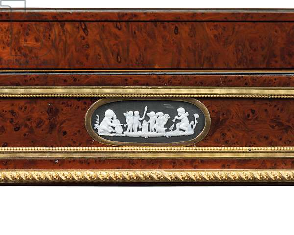 Late Louis XVI ormolu and cameo-mounted burr yew wood and mahogany table travailleuse (ormolu, yew & mahogany)