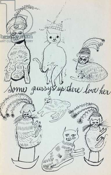 Seven cats, with the words, 'Some pussys up there love her', c.1955 (black print on coloured paper)