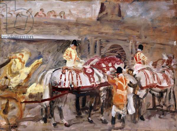 The Windsor Grays being Harnessed to the Royal Coach,  (oil on panel)