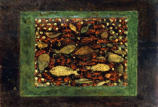 Aquarium, 1927 (oil on gesso laid down on panel, in the artists red painted fram)
