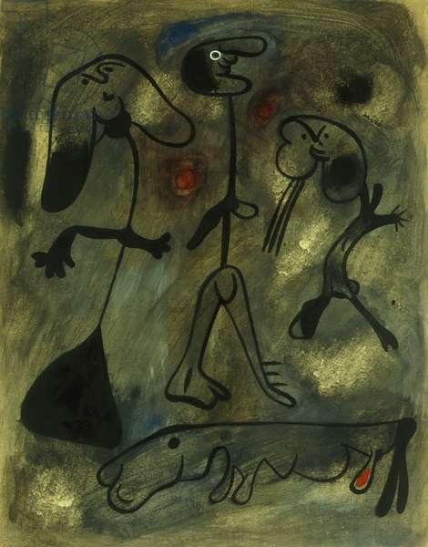 Figures et Chien, 1935 (gouache, brush and India Ink on paper)