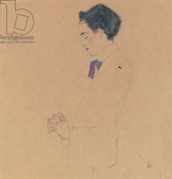 Anton Faistauer with folded hands, 1909 (crayon & pencil on paper)