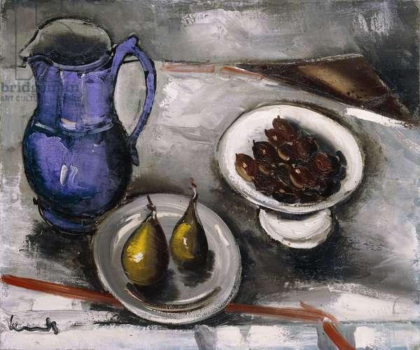 Still Life with Blue Pitcher; Nature Morte a la Cruche Bleue, (oil on canvas)