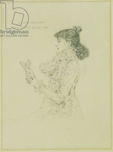 Portrait of Sarah Bernhardt, 1879 (pencil on paper)
