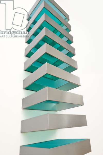Untitled (Bernstein 89-1), 1989 (stainless steel and transparent green Plexiglas)
