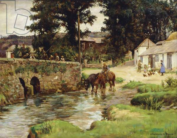 Watering the Horses in the Village Stream, 1931 (oil on canvas)