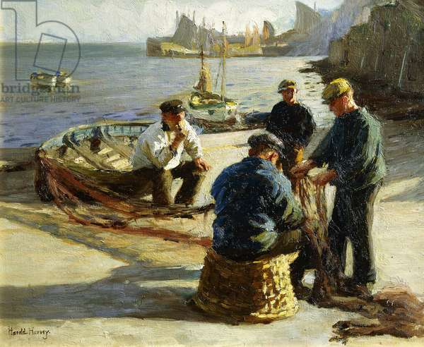 Mending the Nets, Newlyn, (oil on canvas)