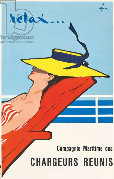 'Relax', an advertising poster for the shipping company Chargeurs Reunis, c.1950 (offset colour lithograph)
