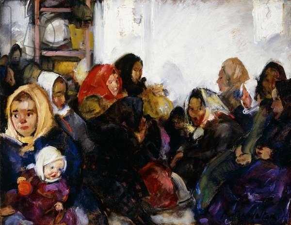 Czech Immigrants, Ellis Island, (oil on board)