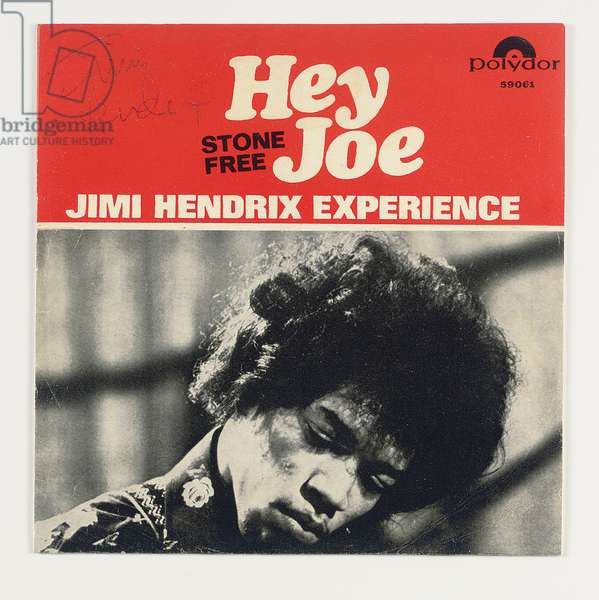 Autographed album cover of the Jimi Hendrix Experience Hey Joe/Stone Free (pen & ink on printed cardboard)