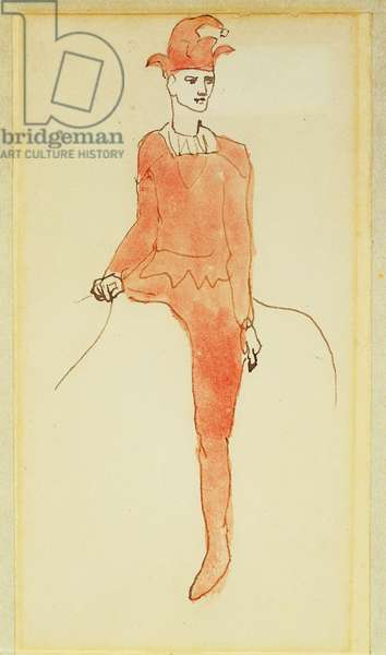 Harlequin on a Horse, 1905 (w/c, pen & brown ink on paper)