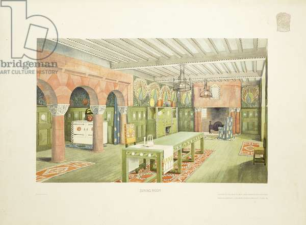 Dining Room, Isle of Man, c.1901 (colour lithograph)