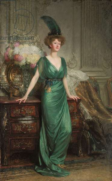 Portrait of the Hon. Mrs. Ernest Guinness, Standing, Wearing an Emerald Dress and Feather, 1912 (oil on canvas)
