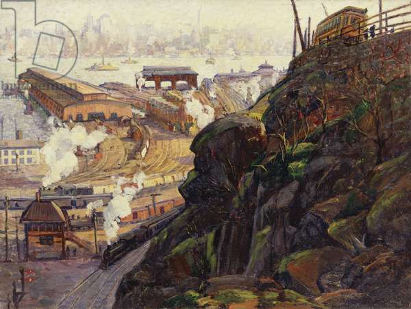 View of Manhattan from the Terminal Yards, Weehawken, New Jersey, 1913 (oil on canvas)