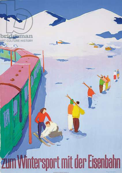 To Winter Sports With the Railway, 1950 (colour litho)