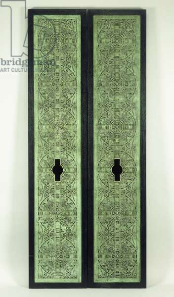 Two elevator panels, 1894-1895 (copper-plated cast iron)