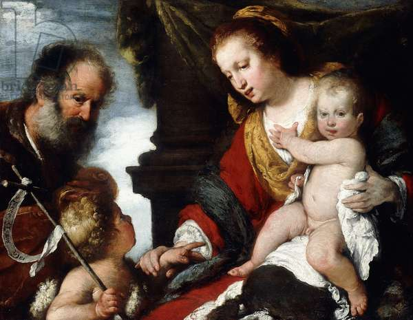 The Holy Family with the Infant St,  (oil on canvas)