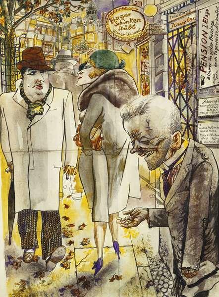 Berlin Street Scene; Berliner Strassenszene, 1930 (black ink, watercolour and thinned oil on paper)