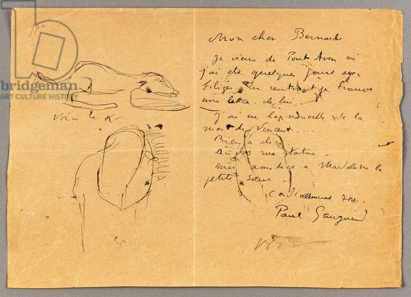 Letter to Emile Bernard with three ink sketches, noting the death of 'Vincent', Tahiti, 1890s (pen & ink on paper)