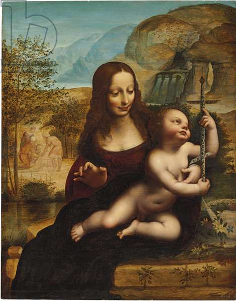 The Madonna of the Yarnwinder (oil on canvas)