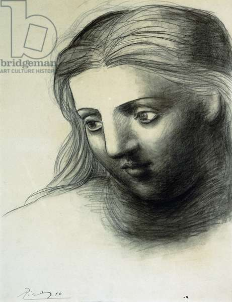 Tete de Femme, 1921 (charcoal on paper mounted at the edges to a board)