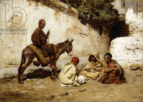 Arab Children playing Cards, 1873 (oil on panel)