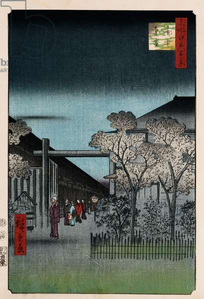 'Dawn in the Yoshiwara', from the series 'One Hundred Views of Famous Places in Edo' (woodblock print)