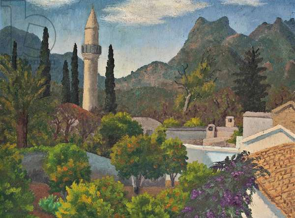 Turkish Village with Mosque, Cyprus, 1967 (oil on canvas)