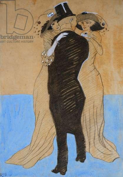 La Flatterie, 1908 (watercolour, charcoal and pencil)