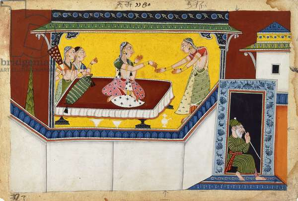 Kaikeyi, King Dasaratha's Second Queen, Rewarding the Hunchback Maidservant Manthara, c.1690-1700 (w/c on paper)