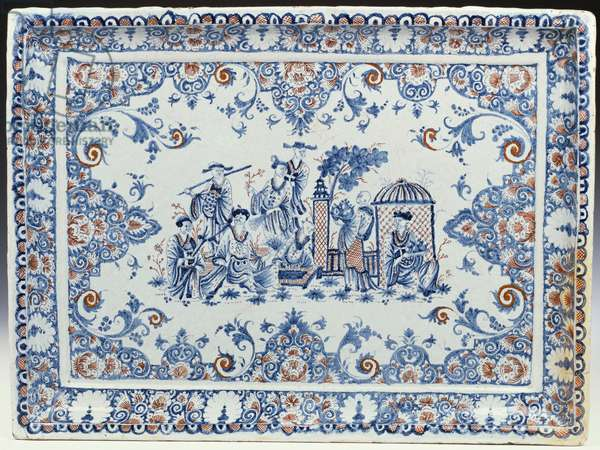 A Rouen rectangular tray, painted in blue and iron-red (ceramic)