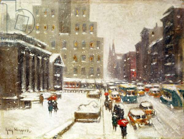 Fifth Avenue Storm (oil on canvas)