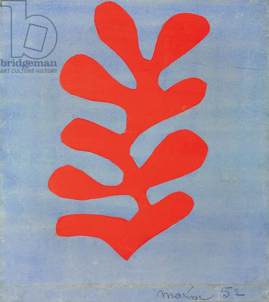 Red Algae on Sky Blue Background, 1952 (gouache, w/c & collage on paper)